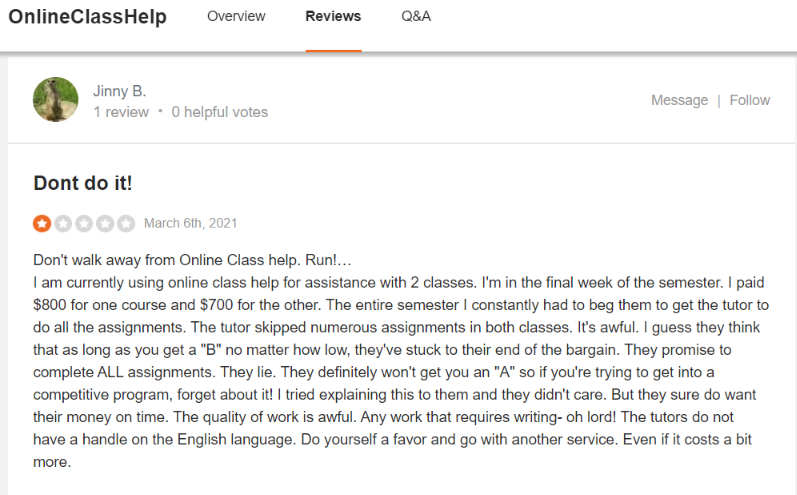 onlineclasshelp sitejabber review